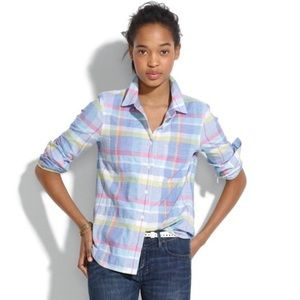 Madewell Madras Plaid Button Down Shirt Sz XS